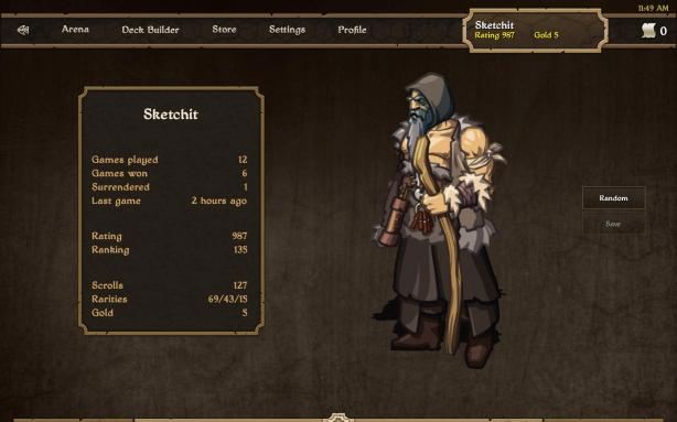 Here is your profile page. You can see your character and change their appearance, as well as view your statistics.